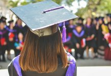 Graduation cap with purple tassel